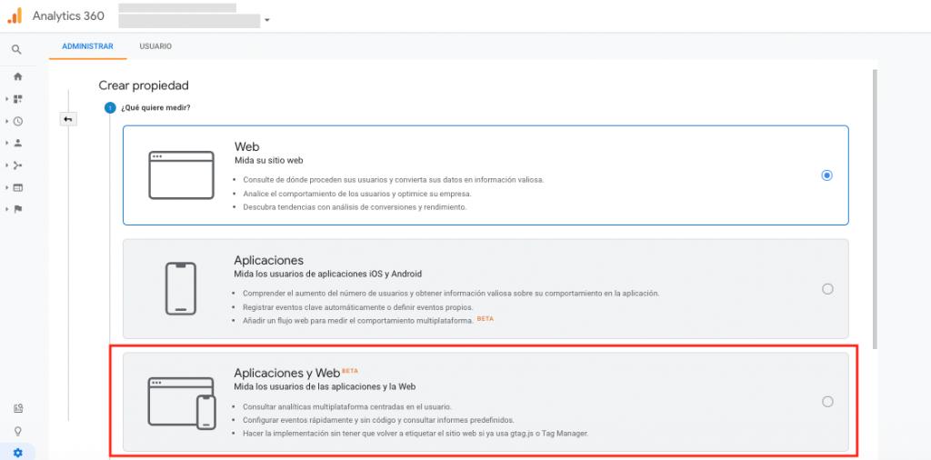 Google Analytics: Nueva propiedad App+Web